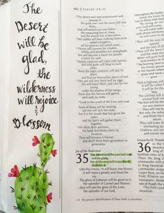 Illustrated faith, Bible art journaling. Isaiah 35:1 what a glorious day it will be when God restores the land after the tribulation. By Lynn Egigian