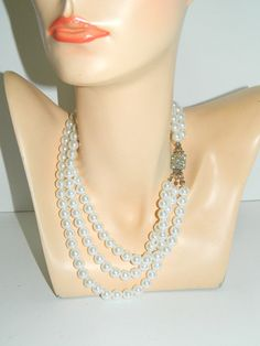 "Vtg 3 Strand Faux Pearl w/Rhinestone Clasp String Necklace Bridal 18""Multistrand #Unbranded #StrandString"