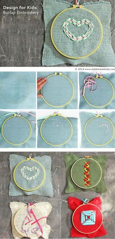 Sewing ideas for kids are one of my favorite things to dream up and burlap embroidery puts a spin on embroidery by using one of my favorite project materials: shoelaces.