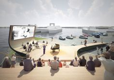 Haparandadam is the winning proposal by NL Architects for a cultural facility in Houthavens West meant to improve the attractiveness of the area to the public b Outdoor Stage, Outdoor Cinema, Outdoor Theater, Cinema Architecture, Water Architecture, Architecture Diagrams, Architecture Portfolio, Modelos 3d, Urban Planning