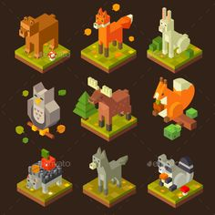 Isometric Forrest Bird And Animal Set Vector EPS, PSD