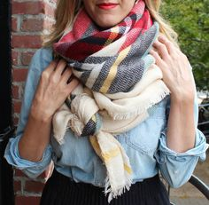 Plaid blanket scarf... and then monogram it for free!