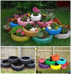 DIY Paint Layered Tire Planter - DIY #Tire Planter Ideas #Garden