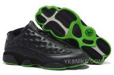 Big Discount 66 OFF Nike Air Jordan 13 Mens Low All Black Green Shoes P4adr