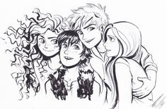 Merida, Hiccup, Jack Frost, and Rapunzel