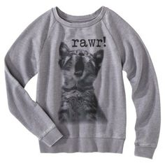 Juniors Rawr Kitty Sweatshirt - Gray at target!!! Gonna Get This!!!!!!