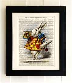 ART PRINT on old antique book page  Alice by thebluebutterflyemp