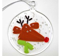 Image detail for -Fused Glass Reindeer Round Ornament
