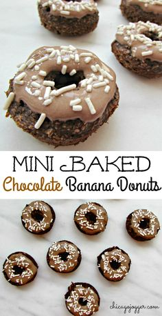 Mini Baked Banana Chocolate Donuts - a healthier donut made flourless with NO refined sugar, oil, or butter. Yum! | chicagojogger.com