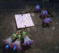 Violets Mixed Media Necklace    Vintaj brass  hand forged clasp