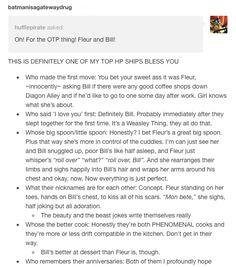 otp: fleur and bill part 2/2 // fleur delacour, bill weasley, harry potter