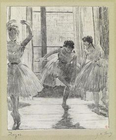 "<b>EDGAR DEGAS <span style=""font-variant: small-caps;"">and</b> <b>GEORGE W. THORNLEY/span <br /> <i>Avant la Classe</b>. <br />  <br /> Lithograph printed in black on cream <i>Chine appliqué</i> on a greenish gray wove backing sheet, circa 1888-89.  265x225 mm; 10 1/2x8 3/4 inches, wide (full ?) margins.  From the deluxe edition of 25.  Signed by Degas and Thornley in pencil, lower margin.  Printed by Atelier Becquet, Paris.  Published by Boussod-Valadon, Paris.  From <i>Quinze…"