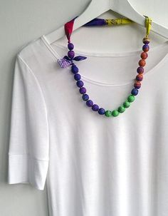 Mint, purple and peach summer necklace, textile necklace, fabric beaded colourful silk, ladies fashion jewellery, spring gift ideas for her