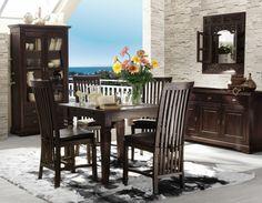 Essgruppe 76 x 90/130/170 x 90 cm. Panama Esstisch & 4 Stühle - Akazie massiv - braun - antikfinish