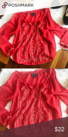 BOGO 💕 American Eagle Bright red and white boho chic top. Embroidered and in wonderful condition. Sheer and will need a camisole underneath. Very cute for spring 🌸 American Eagle Outfitters Tops Blouses