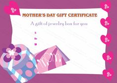 Present Box Mother's Day Gift Certificate Template