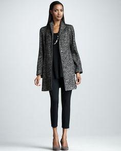 Eileen Fisher Speckled Tweed Jacket, Silk-Jersey Tank & Knit Zipper-Cuff Ankle Pants, Women's in Best of Winter 2013 from Neiman Marcus on shop.CatalogSpree.com, my personal digital mall.