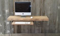 """Small wood desk with mid century hairpin legs, 32"""" x 11.5"""" w x 29.5"""" tall, 1.65"""" top with drawer included, no keyboard tray by UrbanWoodGoods on Etsy"""