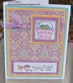 So Many Stamps Stampin' Up! Festive Four set and Sentiment w/baby chick is from Craft Smart Happy Easter Basket