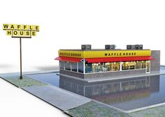 Waffle Restaurant and Parking Lot