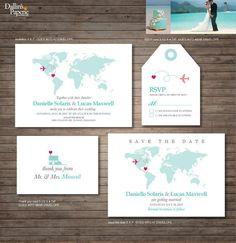 Destination Wedding Invitation printables, beach wedding, Map invitation,