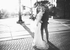 Modest wedding dress with draped sleeve from Alta Moda. Photo by Jessica Janae