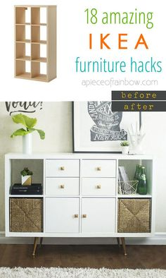 Customize your IKEA furniture easily with 18 super creative hacks: dressers, cabinets, benches, tables, a kitchen island, and more!