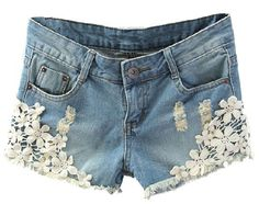 $16, ChicNova Washed Denim Shorts With Crochet Lace Flower Details. Sold by ChicNova. Click for more info: https://lookastic.com/women/shop_items/197096/redirect