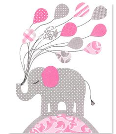 Nursery Art Print Girl's Room Decor Elephant Nursery Fuschia and Gray Grey Balloons 8 x 10 or 11 x 14 Print Children Kids Baby Playroom on Etsy, $15.00