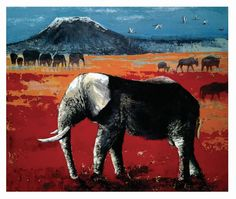 Elephant-Acrylic on board