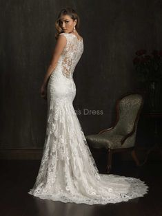 Illusion Back V Neck Sheath/ Column Court Train Lace Wedding Dress - Love the shape of the skirt!