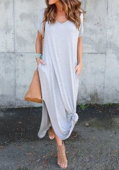 Grey Side Slit Pockets Draped V-neck Short Sleeve Maxi Dress