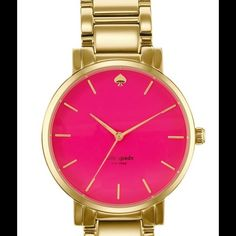 Kate Spade Gramercy Watch Yellow link gold with large Pink face. Brand new! I got for Christmas and it's not the right style for me. Comes with box. Water resistant. No scratches or damage its brand new. No trades kate spade Accessories Watches