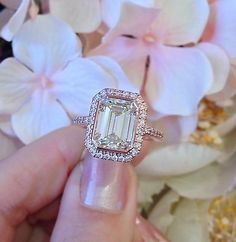 GIA Cert 3.85 Ct Emerald Cut Diamond Engagement Ring in 18K Rose Gold