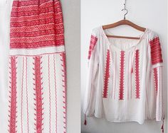 Vintage Romanian blouse Red white Embroidery hand by DorisVintage