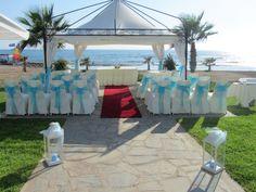 Beach gazebo Kefalos Beach, Gazebo, Pergola, Beach Weddings, Outdoor Structures, Wedding Ideas, Patio, Table Decorations, Outdoor Decor