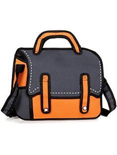 f8bb7646b3f3f Women s 3D Jump Style Drawing Cartoon Paper Bag Orange Bolso De La  Historieta