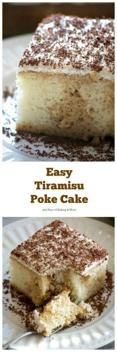 This Easy Tiramisu Poke Cake is a white cake mix drizzled with a sweetened coffee syrup, and topped with a whipped mascarpone vanilla frosting. It's a simple recipe to put together without the liqueur and uses Fair Trade ingredients. Use a gf cake mix. Köstliche Desserts, Homemade Desserts, Delicious Desserts, Dessert Recipes, Homemade Breads, Homemade Chili, Homemade Vanilla, Italian Desserts, Health Desserts