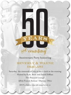 Still Counting: 50 Years - Signature White Photo Anniversary Party Invitation - Picturebook - Gilded - Brown : Front