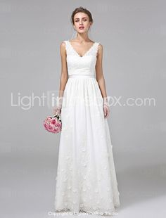 A-Line V Neck Floor Length Lace Made-To-Measure Wedding Dresses with Sash    Ribbon   Flower by LAN TING BRIDE® c78147e148f2