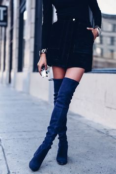 FALL OUTFIT UPDATE: Pair over the knee suede boots with a black mini