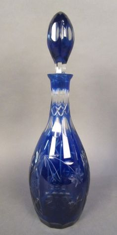 Antique Colbalt Bohemian Cut to Clear Glass Decanter
