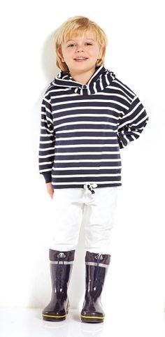 Jungs, Kapuzenshirt in Ringeloptk, blau-weiß, maritim, Streifenshirt