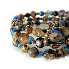 Blue  Brown beaded wrap bracelet dark brown by aGiftofLaughter