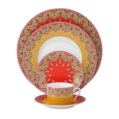 """Philippe Deshoulieres """"Dhara"""" - Dinnerware - Dining - Categories - Home - Bloomingdale'sRegistry Fine China Dinnerware, Dinnerware Sets, Warm Colour Palette, Warm Colors, Red Dinner Plates, Swarovski, Coffee Candle, Coffee Cup, Persian Motifs"""