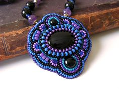 Beadwork Pendant Necklace Bead embroidery jewelry Black onyx cabochons Amethyst beads Black Purple Blue MADE TO ORDER. $74.00, via Etsy.