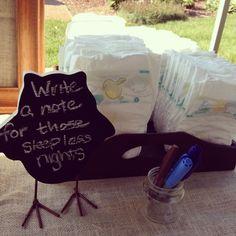 Woodland themed baby shower. Diaper messages. bon évé