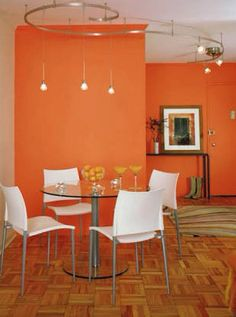 Home Living Room Paint Colors Orange Dining Room, Contemporary Dining Room, Interior Design Living Room, Dining Room Rug, Room Design, Home Decor, Dining Room Decor, Dining Room Paint, Living Room Orange