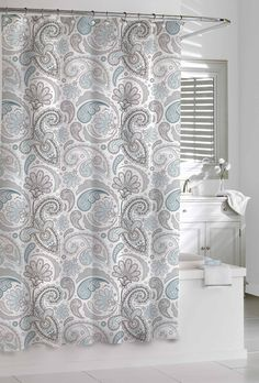 Amazon.com   Kassatex Paisley Shower Curtain, Blue/Grey, 72 By 72