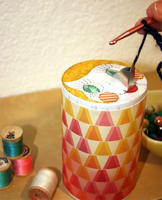 Such a cute idea  love the art work Salt Container Yarn Keeper | Cosmo Cricket